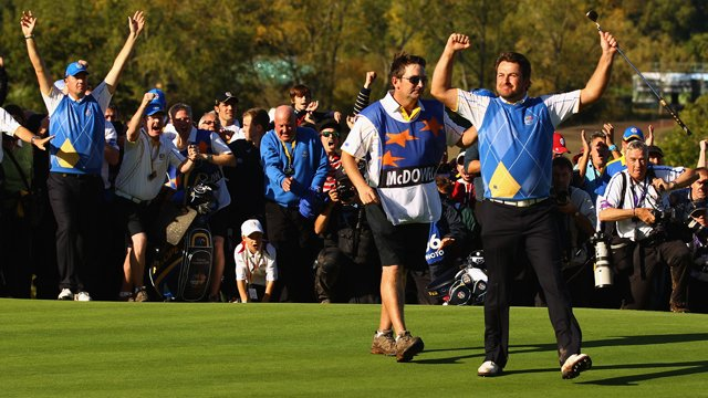 NEWPORT, WALES - OCTOBER 04:  Graeme McDowell of Europe celebrates his 3&1 win to secure victory for  the European team on the 17th green in the singles matches during the 2010 Ryder Cup at the Celtic Manor Resort on October 4, 2010 in Newport, Wales.  (Photo by Richard Heathcote/Getty Images) *** Local Caption *** Graeme McDowell